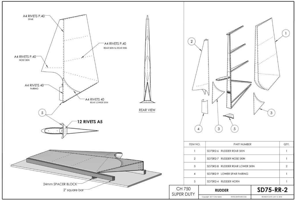 STOL CH 750 Super Duty Rudder Assembly